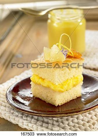 Stock Photo of Sponge cake with lemon curd filling 167503.