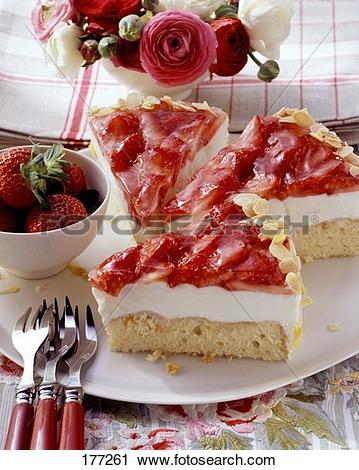 Stock Photography of Three pieces of curd cheese cake with.
