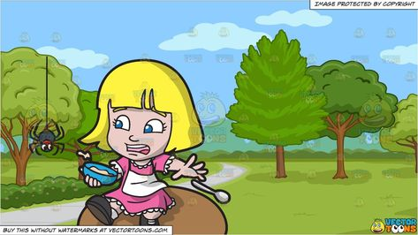 clipart #cartoon Little Miss Muffet Eating Curds And Whey.
