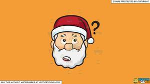 Clipart: A Curious Face Of Santa Claus on a Solid Deep Saffron Gold F49D37  Background.