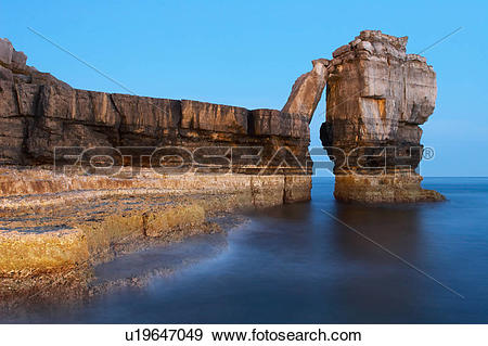 Stock Photograph of England, Dorset, Portland, Pulpit Rock at the.