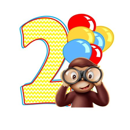 Curious George 2 Year Old Edible Cake Topper Frosting 1/4 Sheet Birthday  Party.
