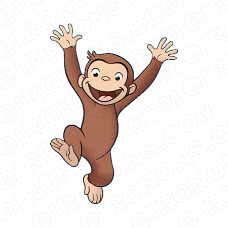 CURIOUS GEORGE JUMPING CHARACTER CLIPART PNG IMAGE SCRAPBOOK INSTANT  DOWNLOAD.