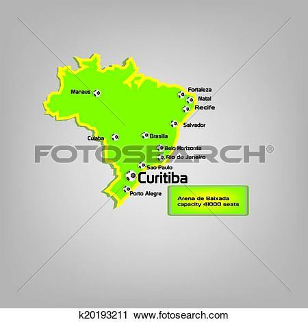 Clipart of curitiba stadium location on map k20193211.