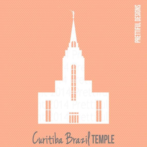 Curitiba Brazil Temple LDS Mormon Clip Art by ILoveToSeeTheTemple.