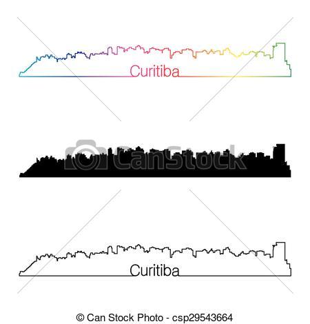 Clip Art Vector of Curitiba skyline linear style with rainbow in.