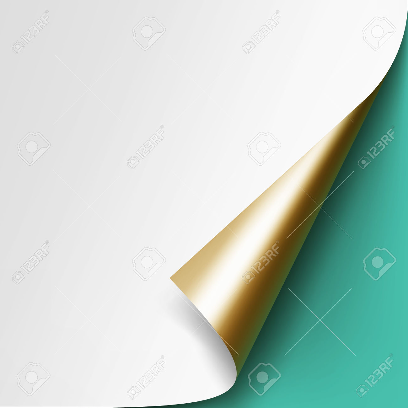 Vector Curled Golden Corner Of White Paper With Shadow Mock Up.