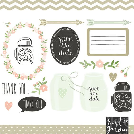 Mint green mason jar clipart, floral digital wedding clip art EPS.
