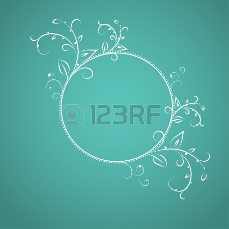 Frame From Curls And Patterns On Mint Background Vector Royalty.