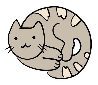 Amazon.com: Sweet Cozy Kitty Cat Curled Up Vinyl Decal.