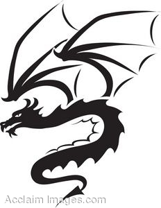 Clip Art Of The Silhouette Of A Dragon Curled Up.