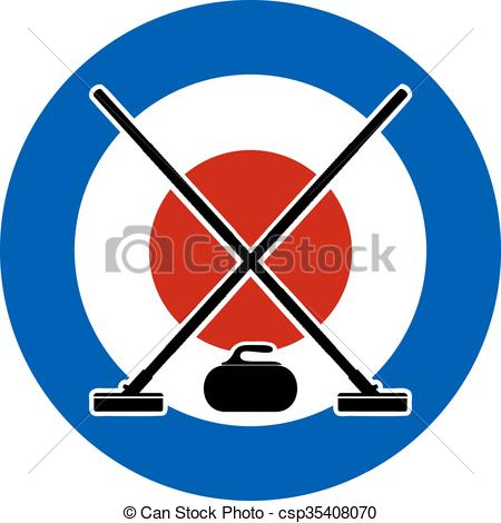 Brooms and stone for curling.