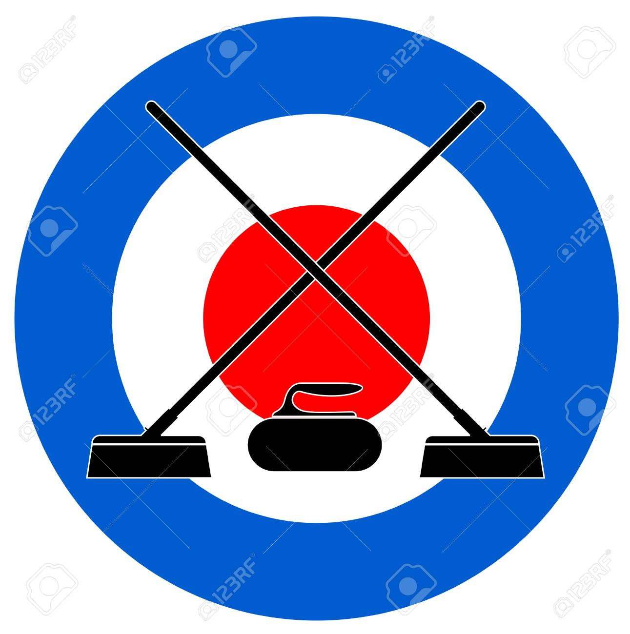 Brooms and stone for curling on Curling House vector.