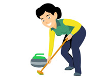 Curling woman with broom winter olympics clipart » Clipart Station.