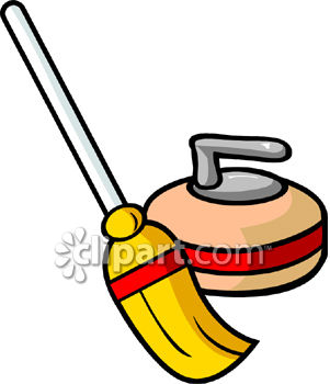 Broom and curling clipart image.