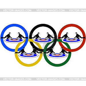 Curling and Olympic rings.