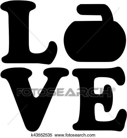 Love word with curling rock Clipart.