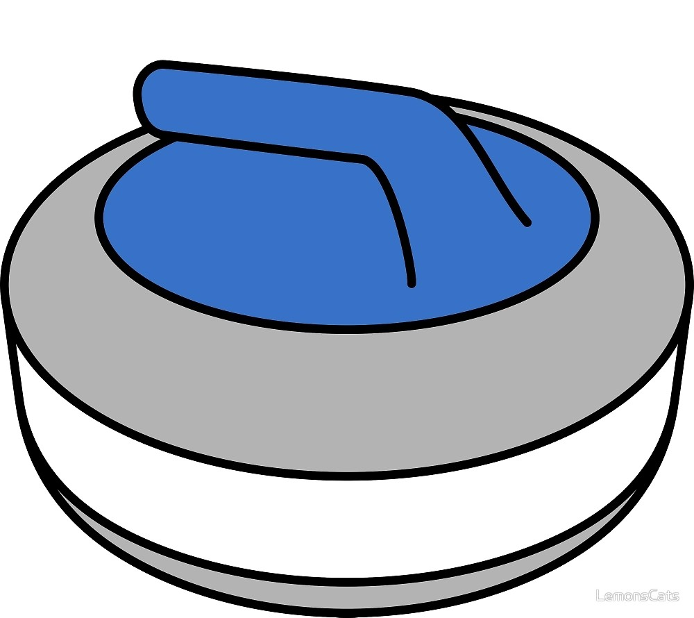Curling Rock with Blue Handle