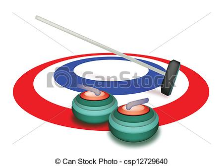 A Collection of Curling Stones on Ice.