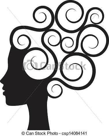 Curly hair clip art.
