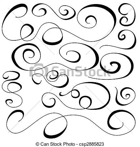 Drawings of Doodle Curls csp2885823.