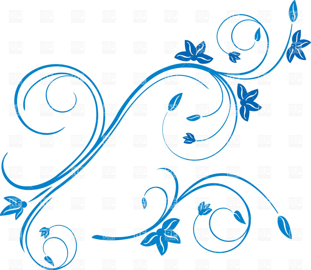 Symbolic curls and flowers decor Vector Image #8501.