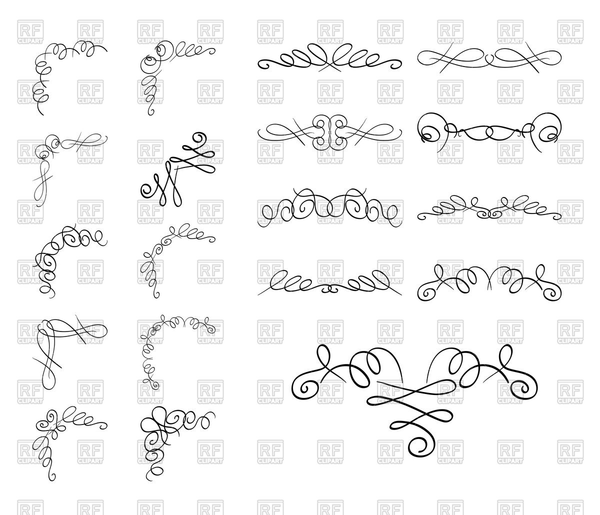 Curly borders and corners Stock Vector Image.