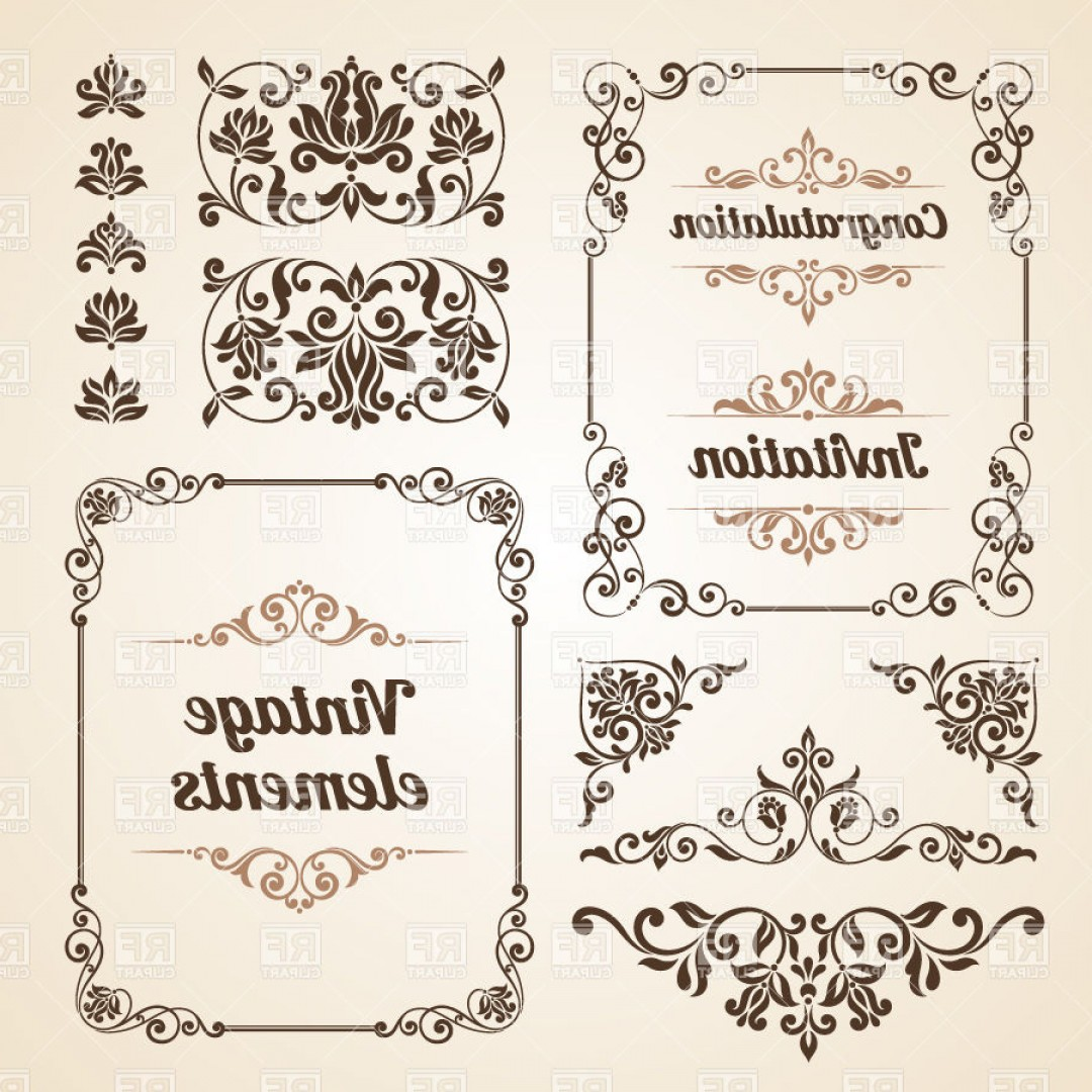 Vintage Borders Ornate Classic Frames And Curly Vignettes Vector.