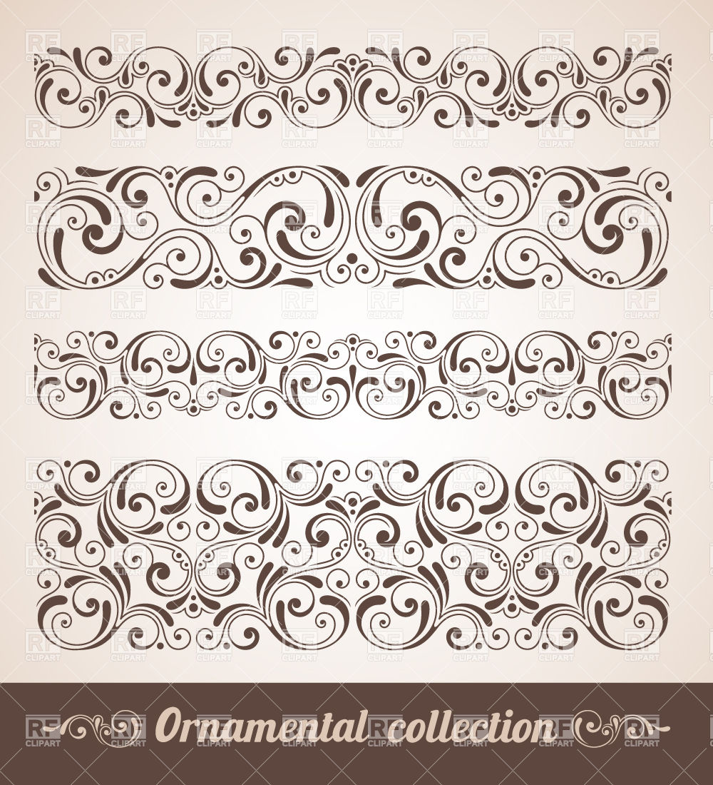 Vintage curly horizontal borders Stock Vector Image.