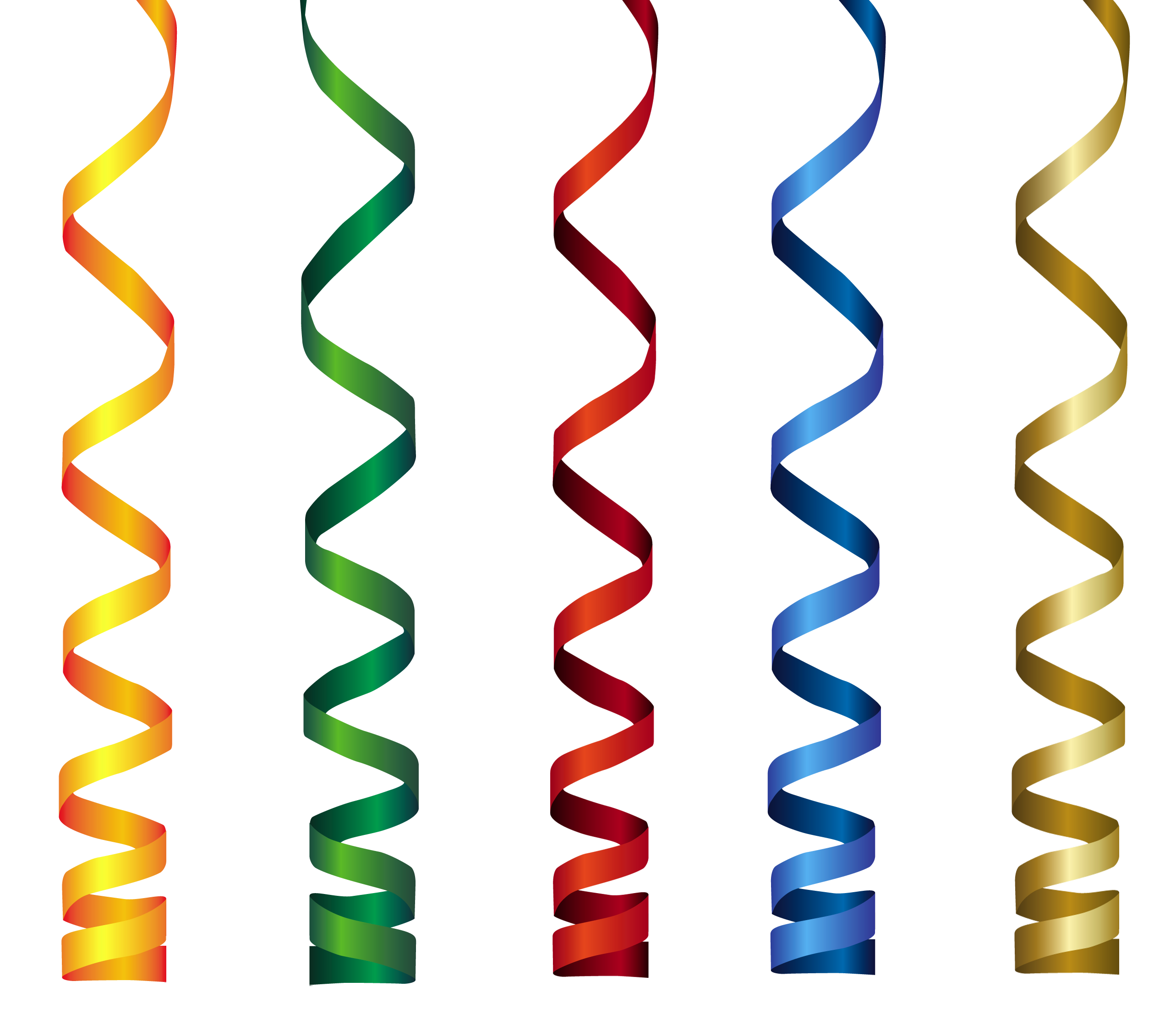 Curly Ribbons Transparent PNG Clip Art Image.