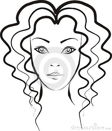 curly haired girl clipart #5