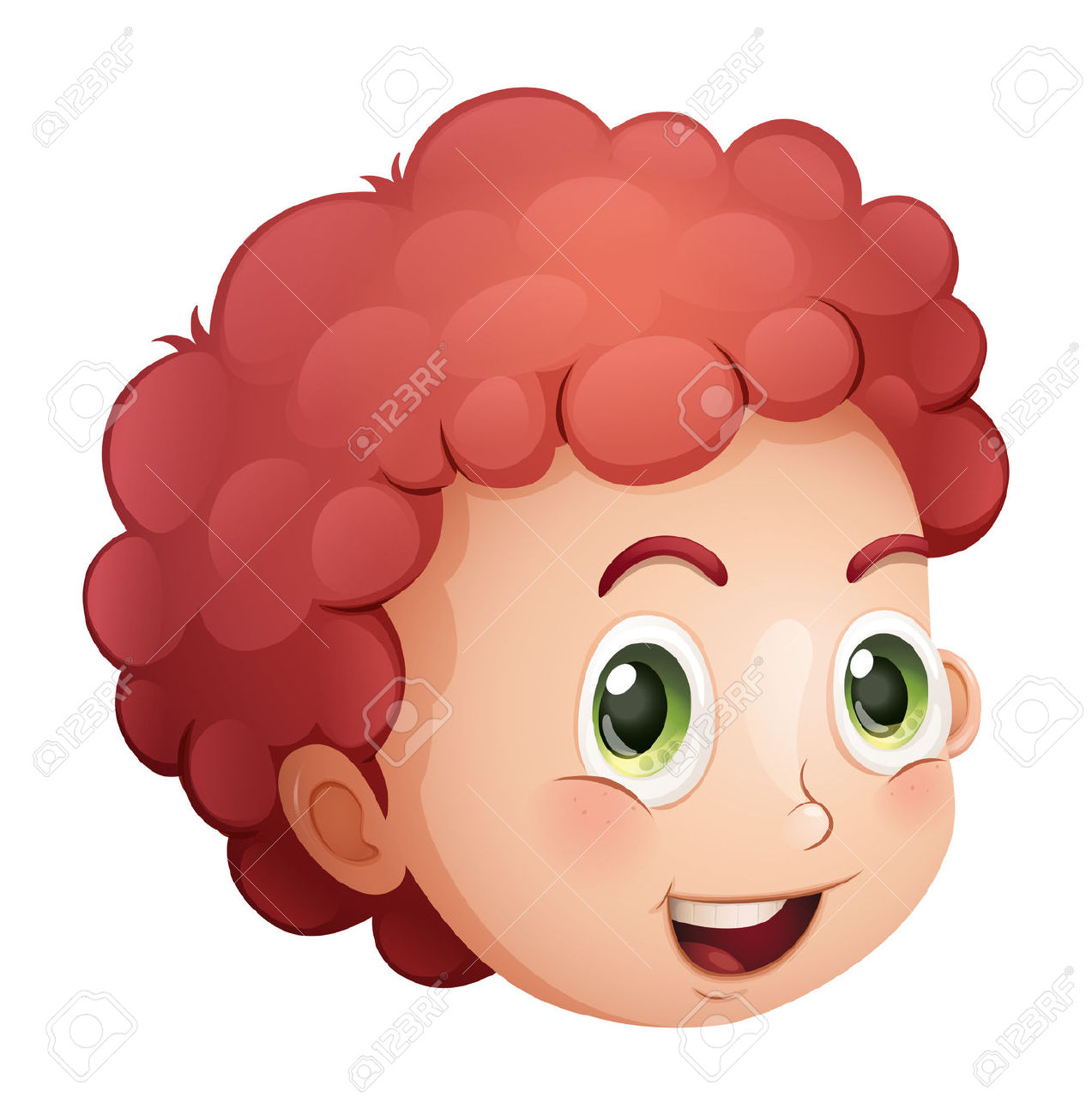 Curly boy clipart.