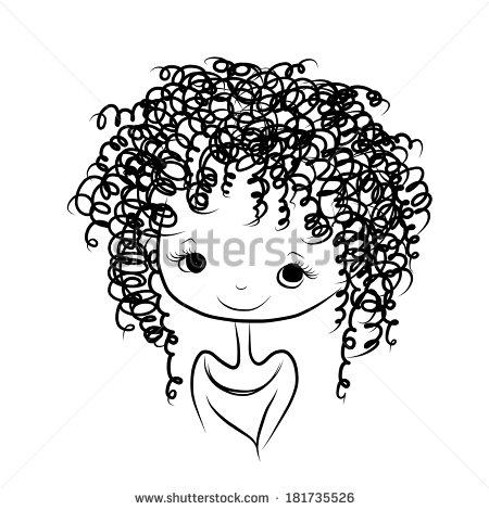 Clipart curly hair girl.