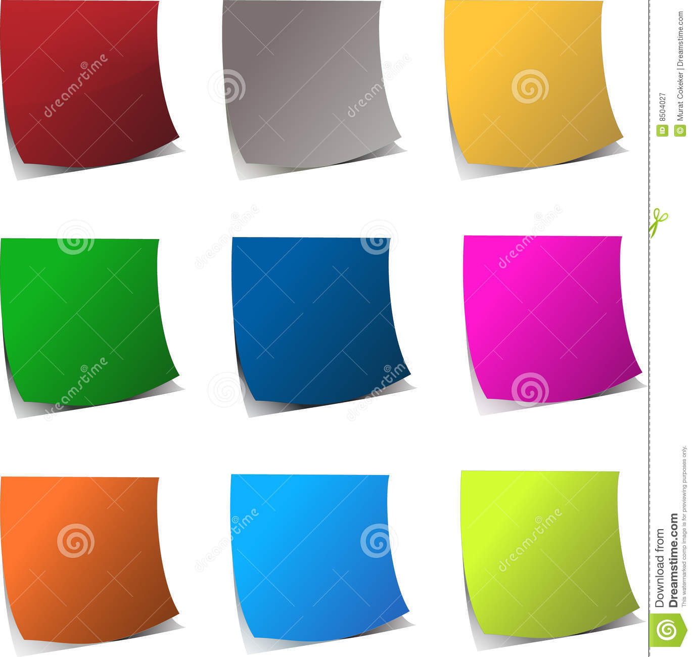 Curly Edge Colorful Realistic Papers Royalty Free Stock.