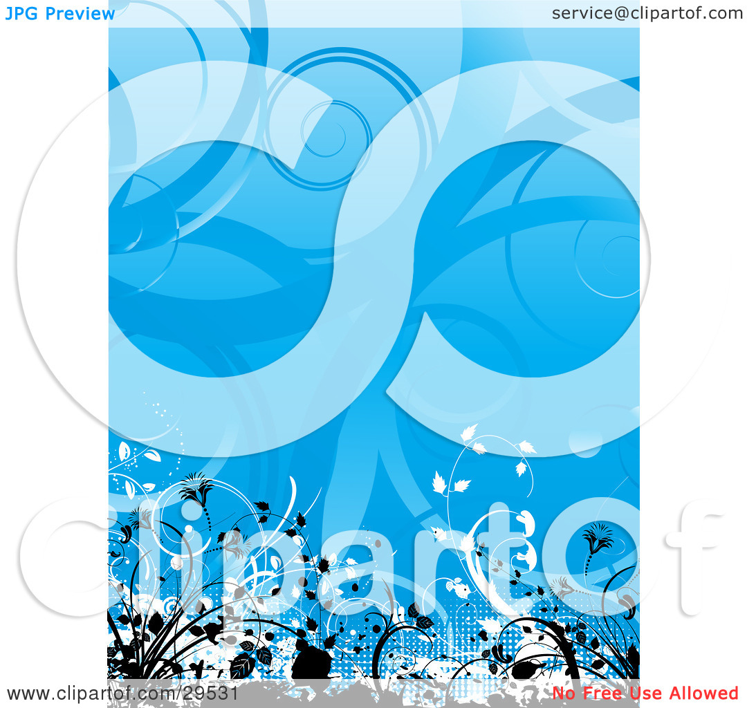 Clipart Illustration of Black And White Grunge And Vines Along The.