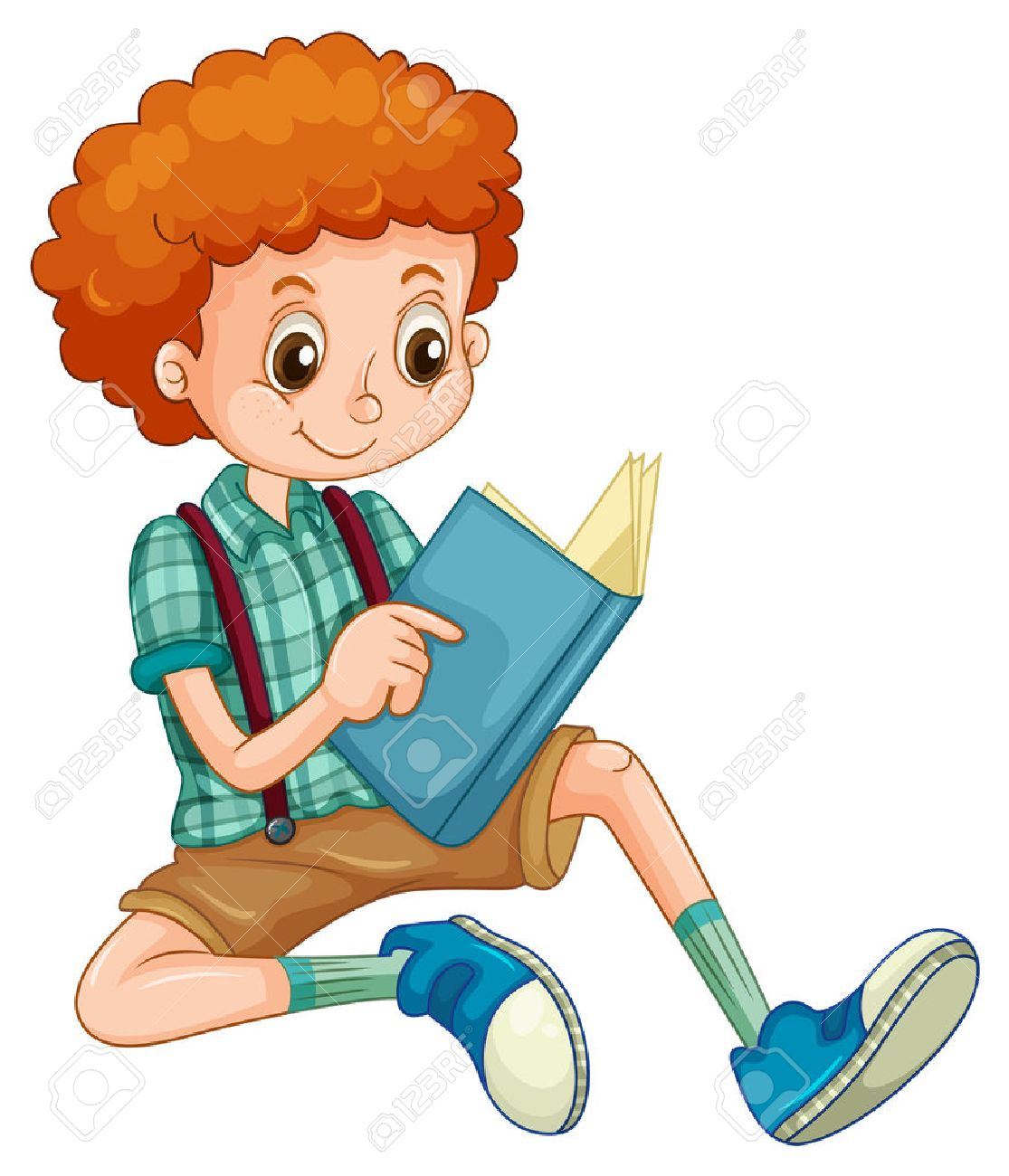 Boy with red curly hair reading a book.