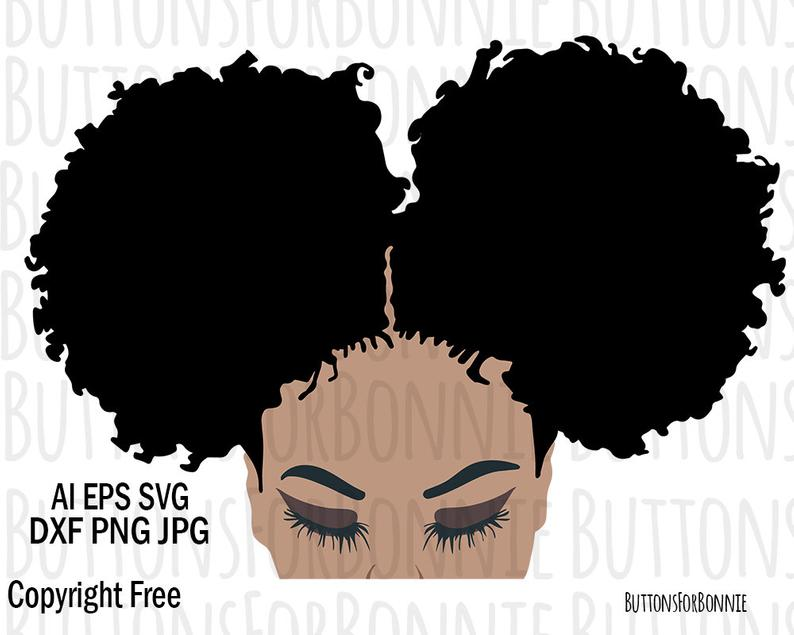 Afro SVG, Black Lady SVG, natural hair svg, curly hair svg, afro vector,  afro clipart, black lady clipart, hair clipart, cutting file.