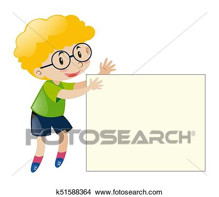 Boy with curly hair holding white paper Clipart.