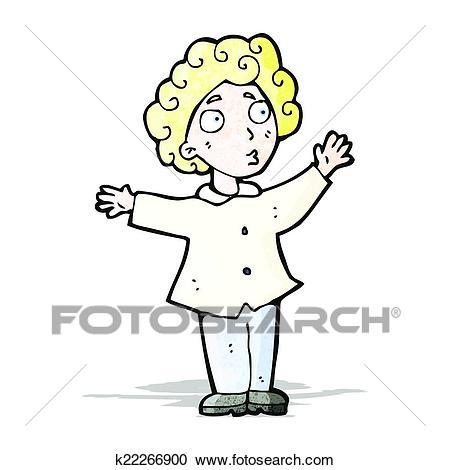 Cartoon man with curly hair Clipart.