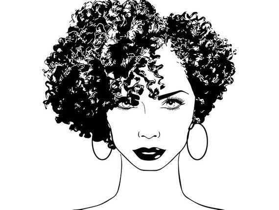 Afro WomanHairstyle Nubian Princess Queen Afro Curly Hair Beautiful Female  Lady SVG .EPS .PNG Vector Clipart Digital Circuit Cut Cutting.