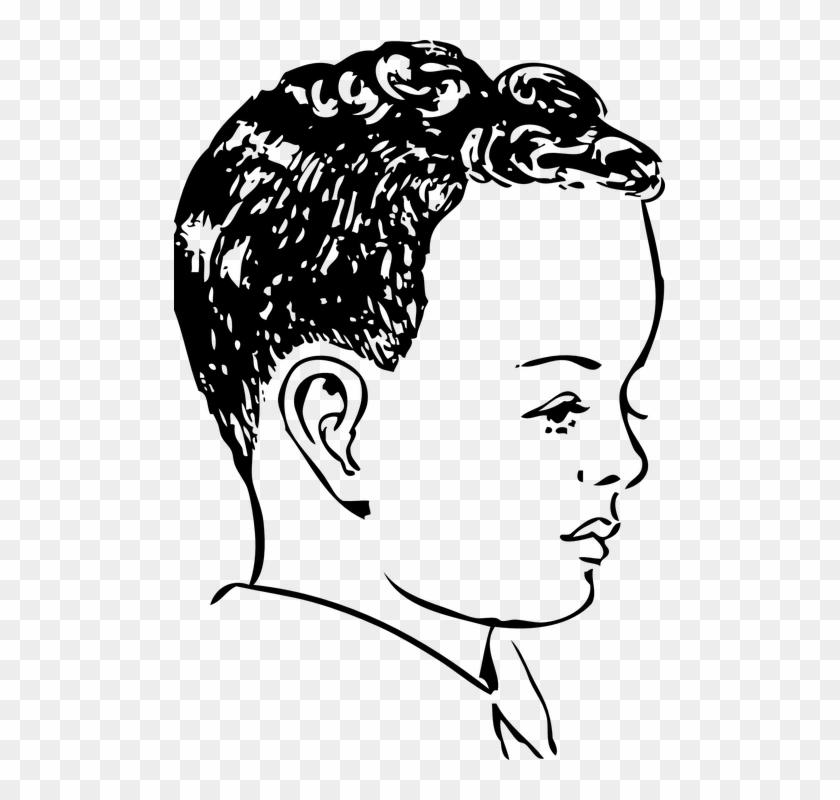 Boy Curly Hair Curls Face Head Side Profile.