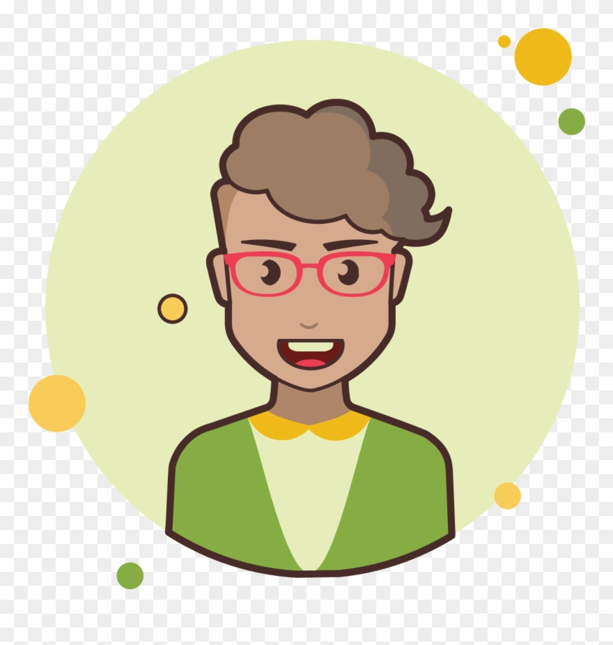 Short Curly Hair Lady With Red Glasses Icon.