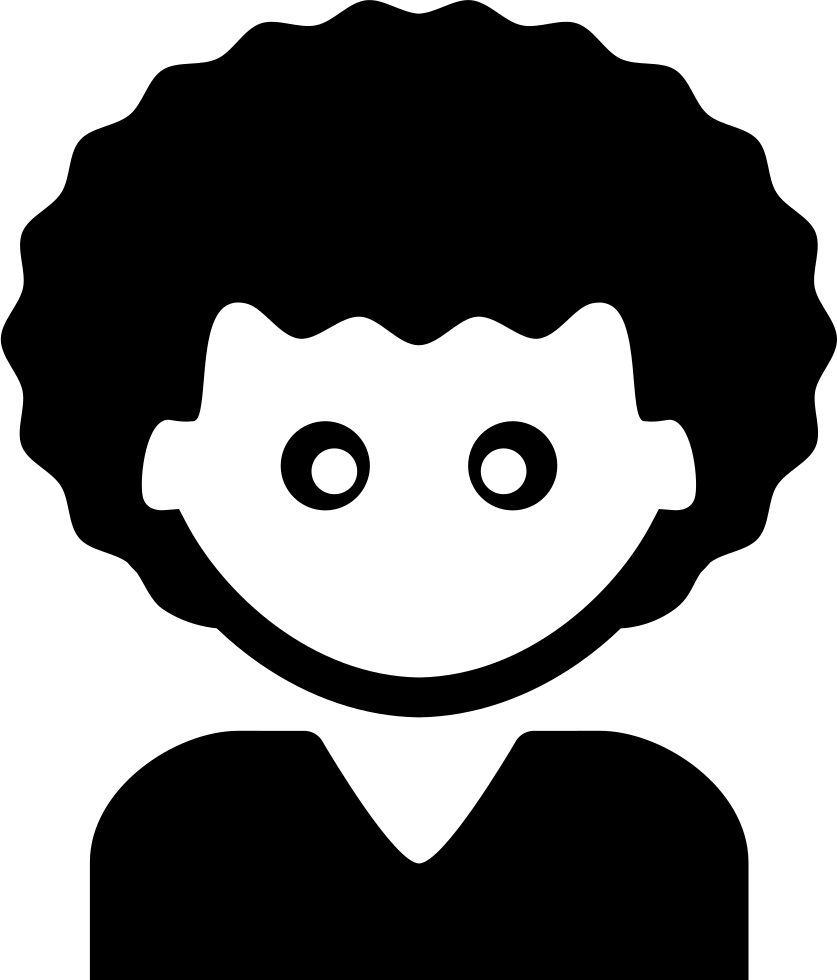 Young Man With Short Black Curly Hair Svg Png Icon Free Download.