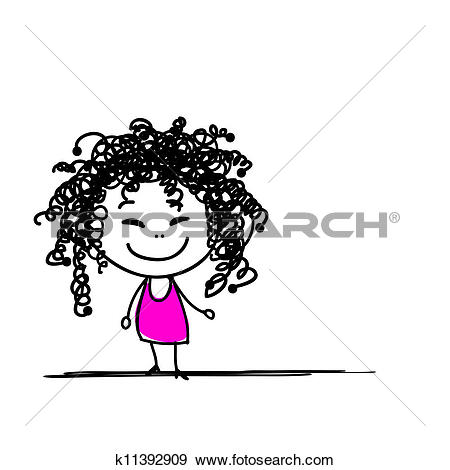 Clipart of Cute girl face with different emotions k17266003.