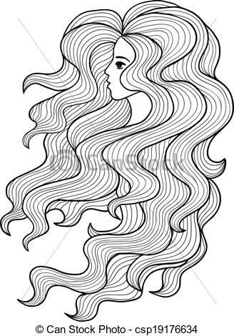 curly haired girl clipart #15