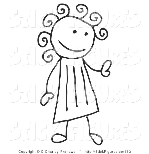 Illustration of a Stick Figure Girl with Curly Hair Looking Right.