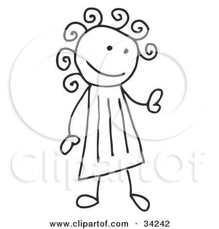 Girl With Curly Hair Clipart.