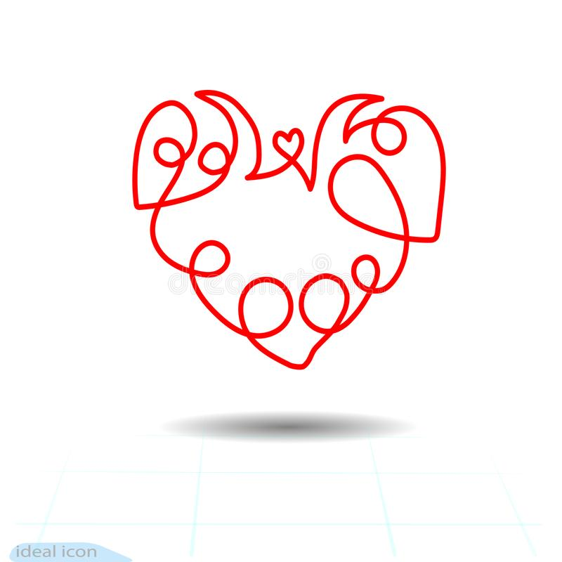 Curly Heart Stock Illustrations.