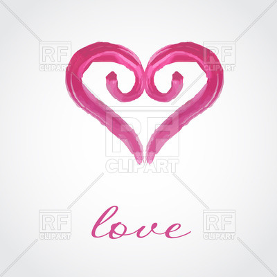 Curly watercolor heart and love word Vector Image.