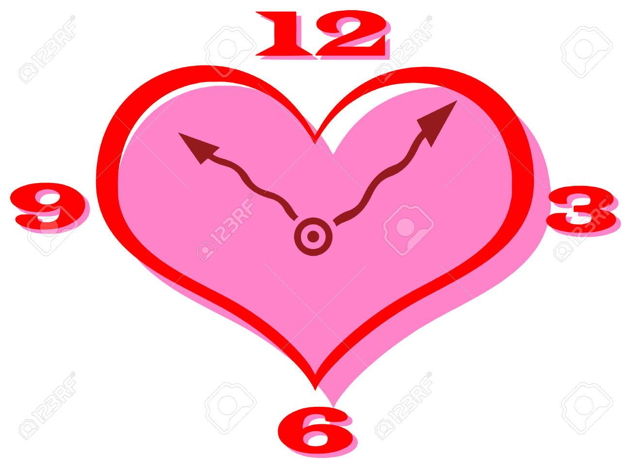 Vector clip art of a heart shape clock with curly hands.